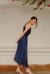 RW2104 -Blue Dress With Orange Trim