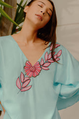 RW21008T-FS SIlk Embroidered Short Kaftan
