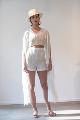 PFW19 - Embroidered Cap Sleeves Crop Top and Shorts Set RW2001