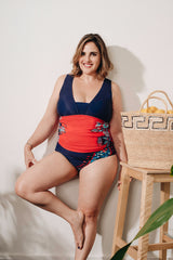 Curve - Red And Blue Tankini With Floral Print Set- Markdown 30% off