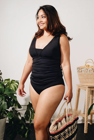 Curve - Black Tankini With V-Neck Top 41002AZ (60% Markdown U.P $150) - Top and bottom sold separately