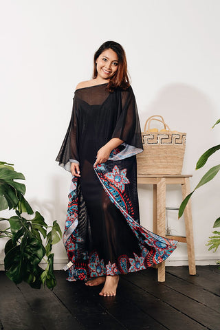 Curve - Long Kaftan In Floral Print