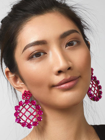 K.BLU Selects - Floral Magenta Earrings 30% Markdown