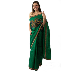 ARTY KALAMKARI SAREE GREEN