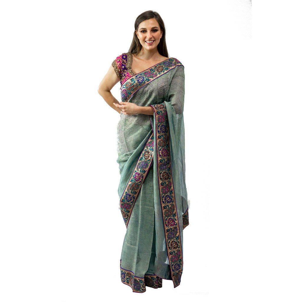 DOUBLE SHADED GREEN SAREE