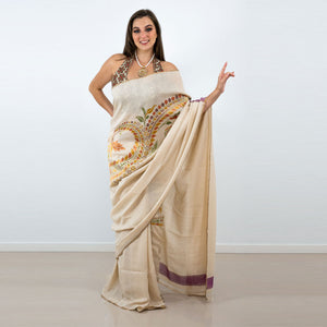 ENCHANTING CREAM SILK SAREE