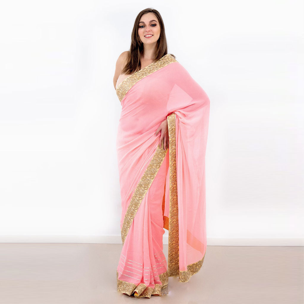 PEACH SILK GEORGETTE SAREE