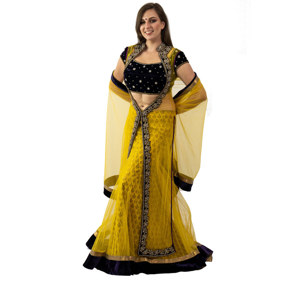 YELLOW AND DARK NAVY LEHENGA