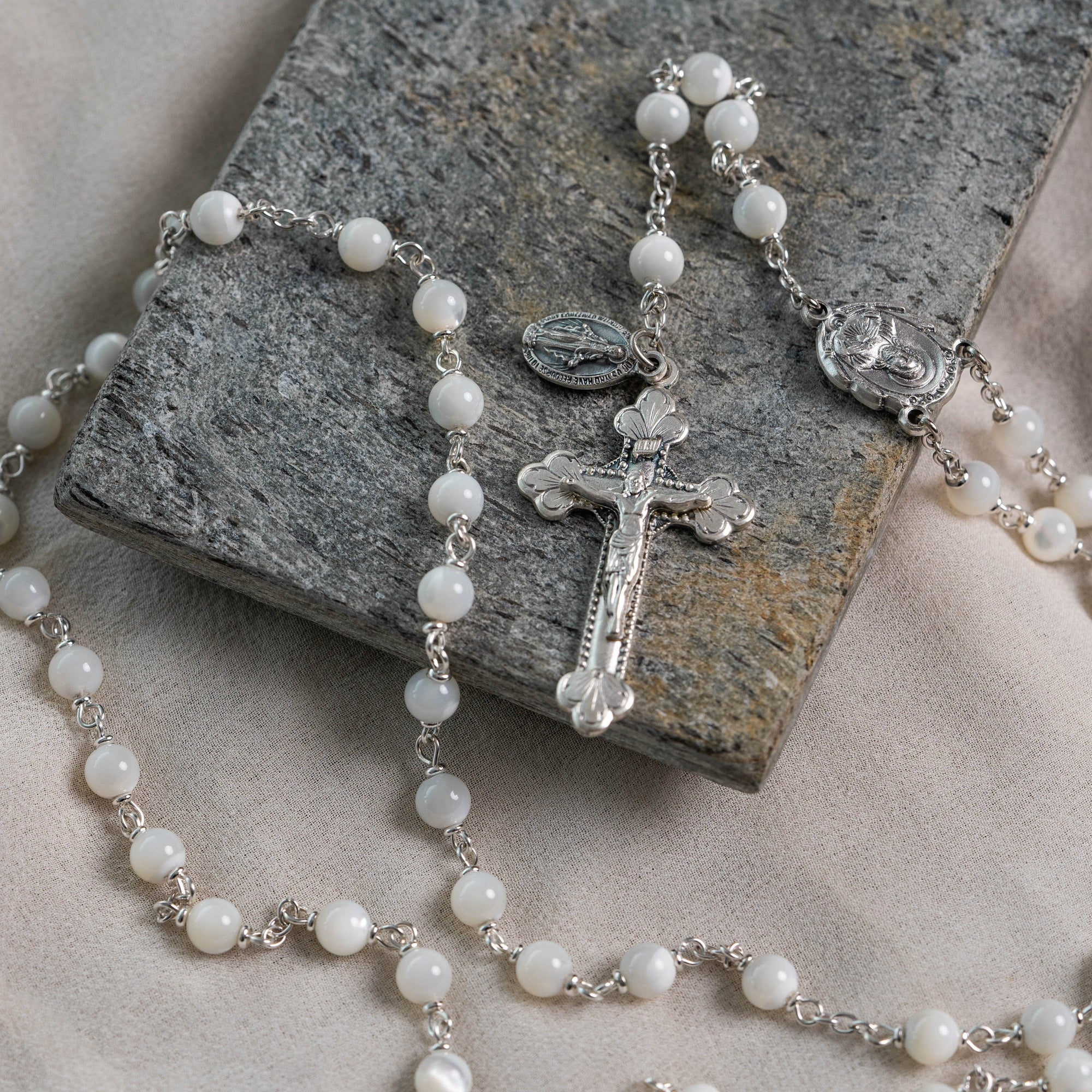 Genuine Mother of Pearl Italian Rosary The Roman Catholic Store