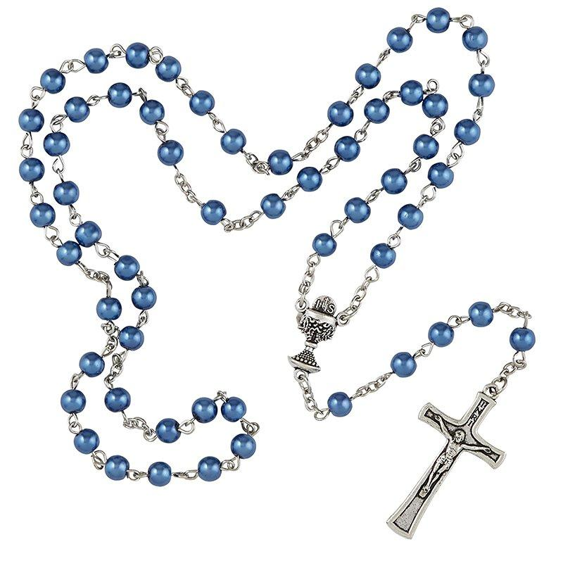 First Communion Chalice Rosary - Blue The Roman Catholic Store