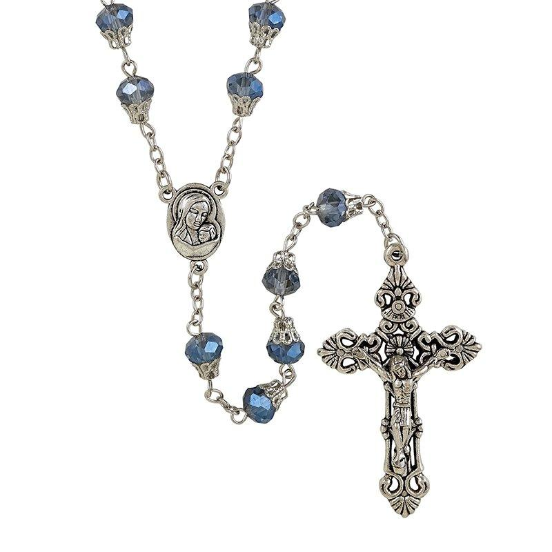 Blue Madonna and Child Rosary with Holy Land Soil The Roman Catholic Store