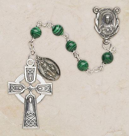 Genuine Malachite Italian Semi-Precious Irish Rosary The Roman Catholic Store