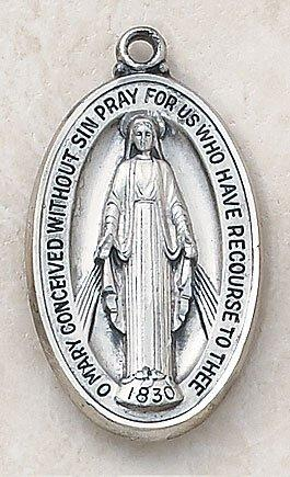 "Silver Miraculous Medal with 27"" Chain The Roman Catholic Store"