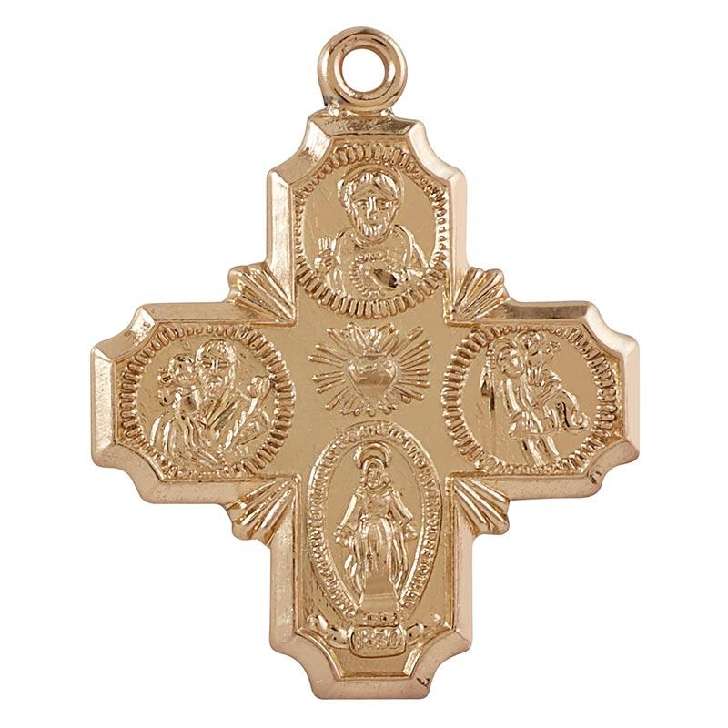 """I am Catholic Call a Priest"" Medal with Chain The Roman Catholic Store 3/4 inches 18 inches Gold Plated Over Sterling Silver"