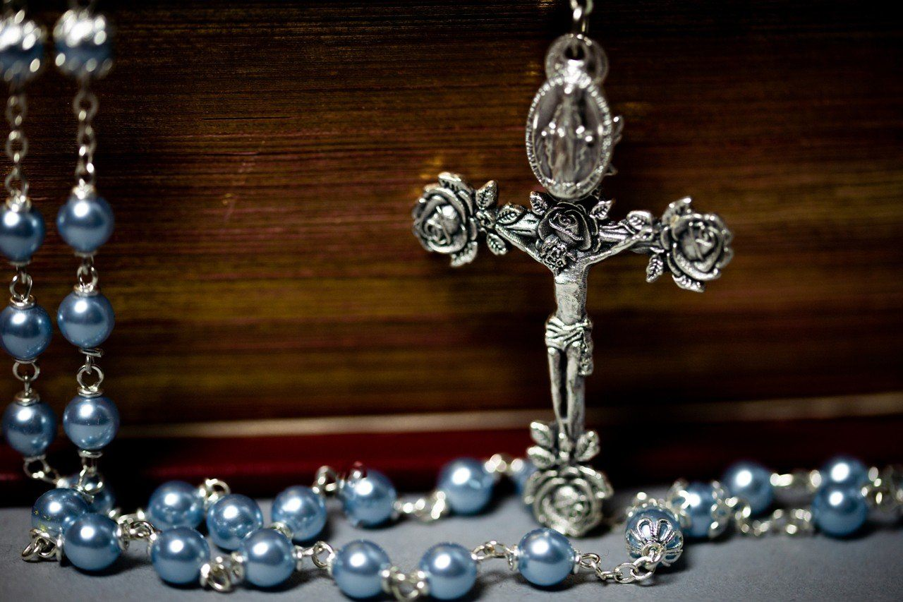 Swarovski Blue Pearl Creed® Rosary Necklace The Roman Catholic Store