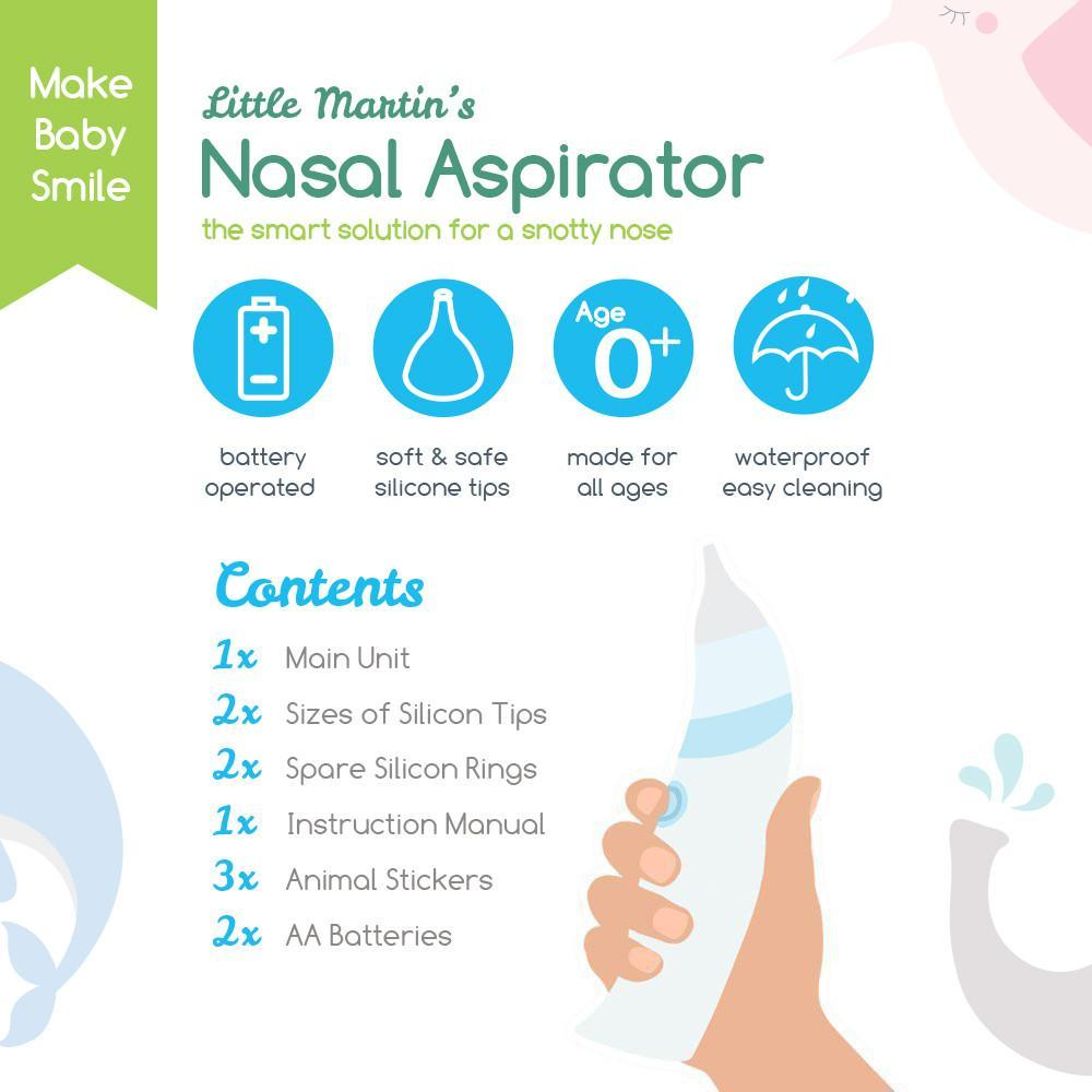 Little Martin's Drawer, Baby Nasal Aspirator Blue, A smart, safe, and effective solution for helping your congested baby sleep comfortably through the night. The Portable Baby Nasal Aspirator opens up the nasal passages, so Baby can get some rest!