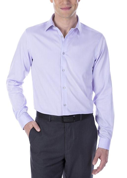 Calvin Klein, Calvin Klein Steel Regular Fit Non Iron Broadcloth Solid Lilac, Men Clothes
