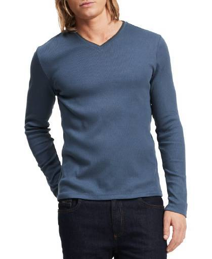 Calvin Klein, Calvin Klein Long Sleeve Ribbed V-Neck T Shirt Nook,