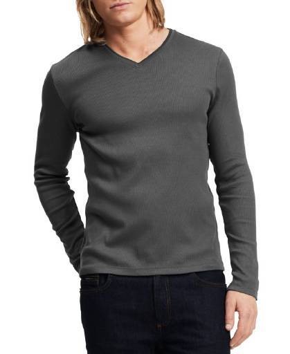 Calvin Klein, Calvin Klein Long Sleeve Ribbed V-Neck T Shirt Fatigue,