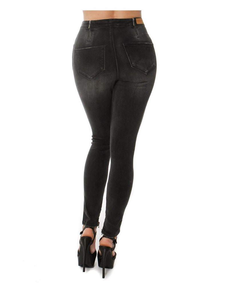 CENIA New York CCJ6008 Ripped Leg Fashion Style - Black