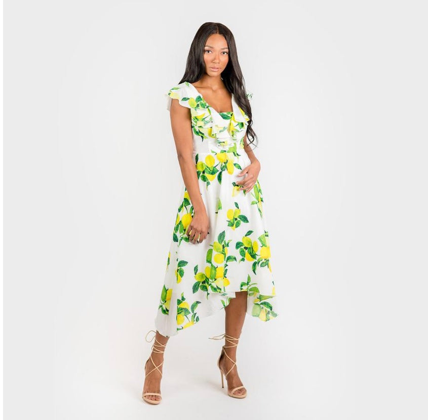CENIA New York CN7177 Ruffled Nkline Sharkbite Hem Dress
