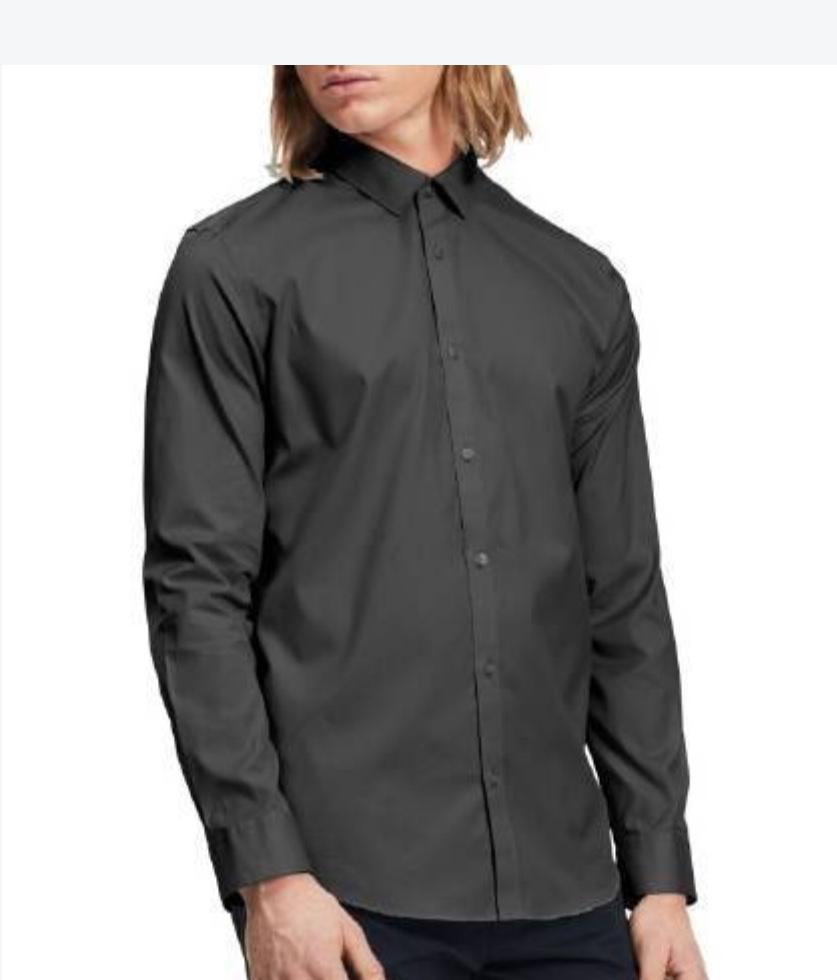 Calvin Klein Men's Infinite Cool Stripe Button Down Shirt Carbon