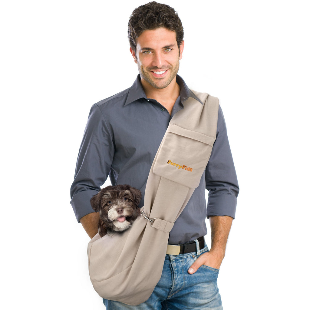 FURRY FIDO KHAKI ADJUSTABLE POCKET PET SLING