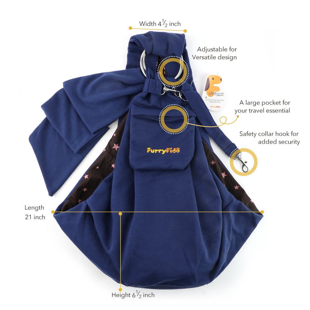 FURRY FIDO NAVY ADJUSTABLE POCKET PET SLING