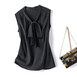 LEEZ SILK SLEEVELESS TIEFRONT BLOUSE - BLACK