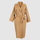 Women Belted Wool & Cashmere Coat Camel