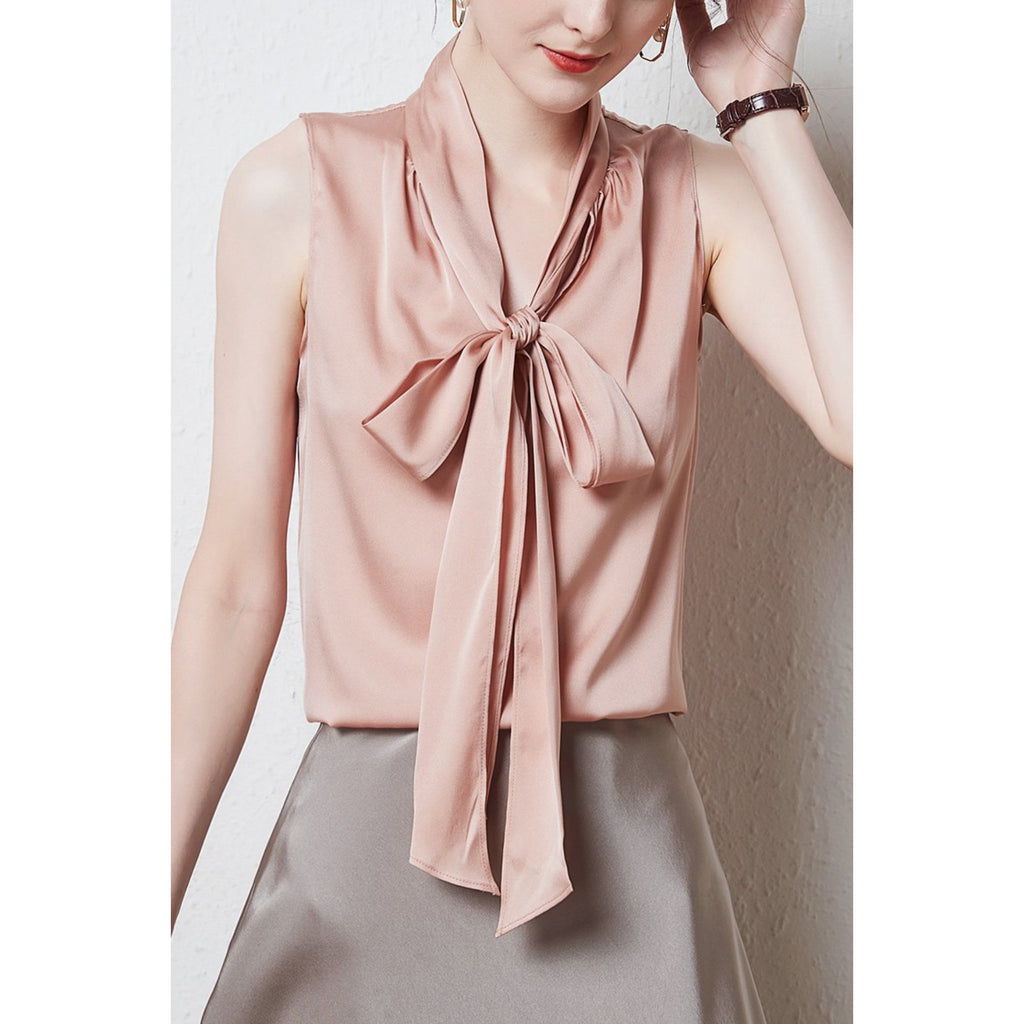LEEZ SILK SLEEVELESS TIEFRONT BLOUSE - PINK