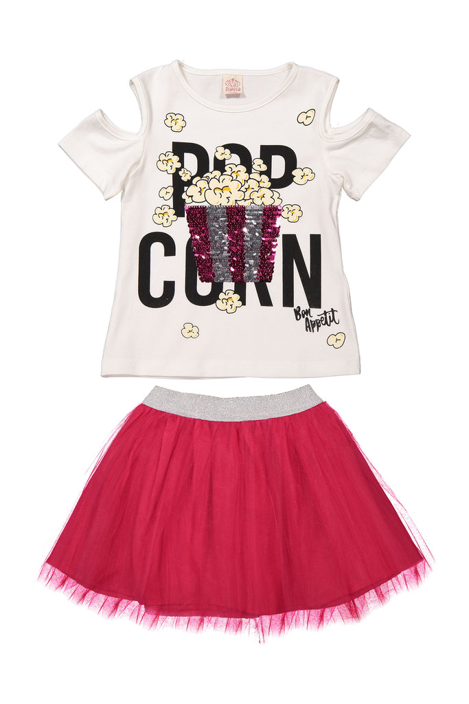 POPCORN SEQUIN 2 PIECES WHOLESALE KID GIRL TUTU SKIRT SET