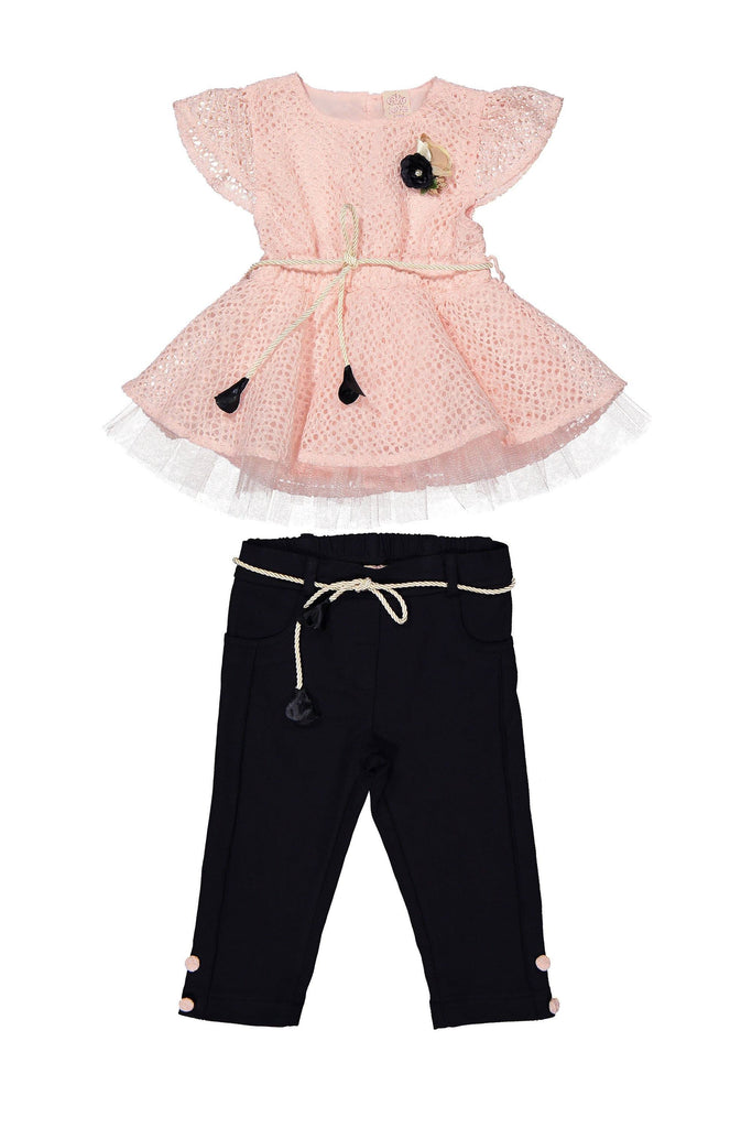 LACING 2 PIECES WHOLESALE KID GIRL OUTFIT SET