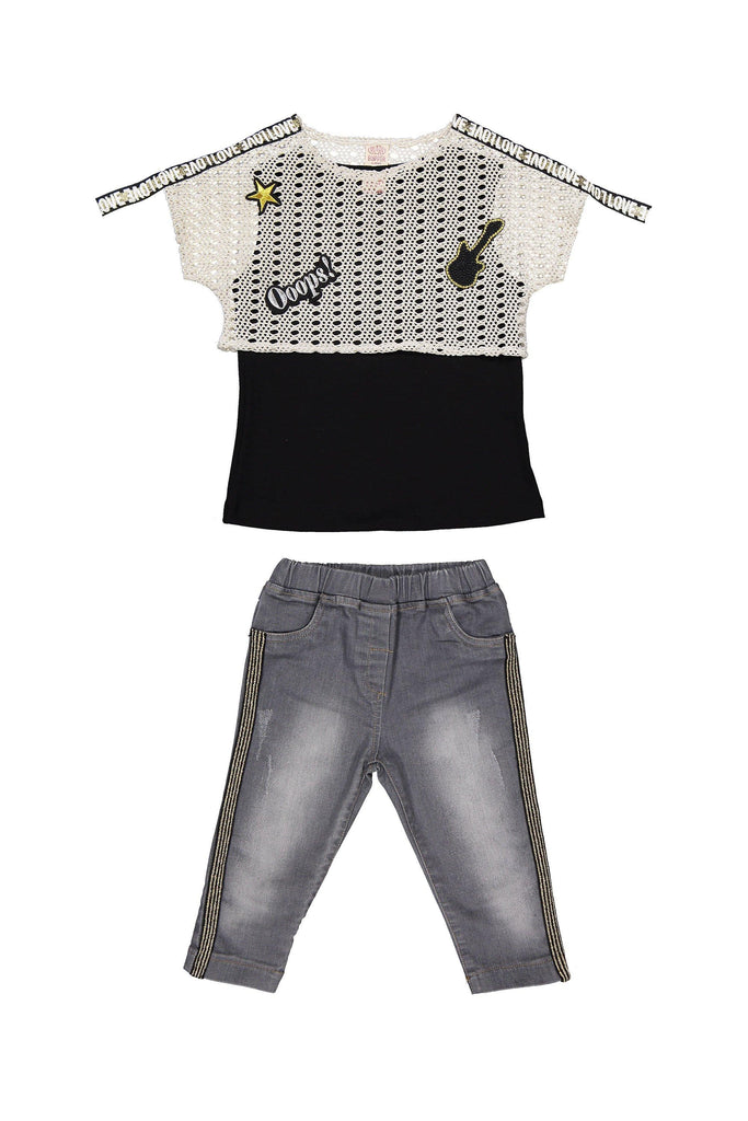 CROP TOP 3 PIECES WHOLESALE KID GIRL OUTFIT SET