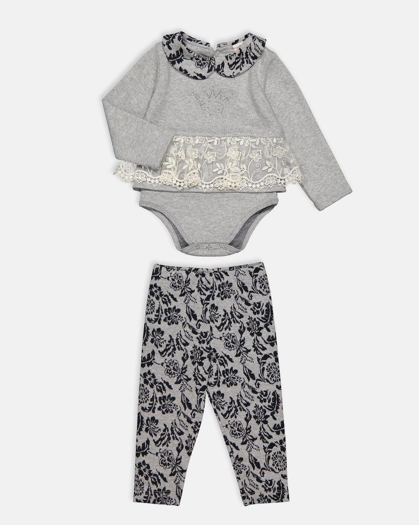 FLORAL JACQUARD 2 PIECES WHOLESALE BABY GIRL OUTFIT SET