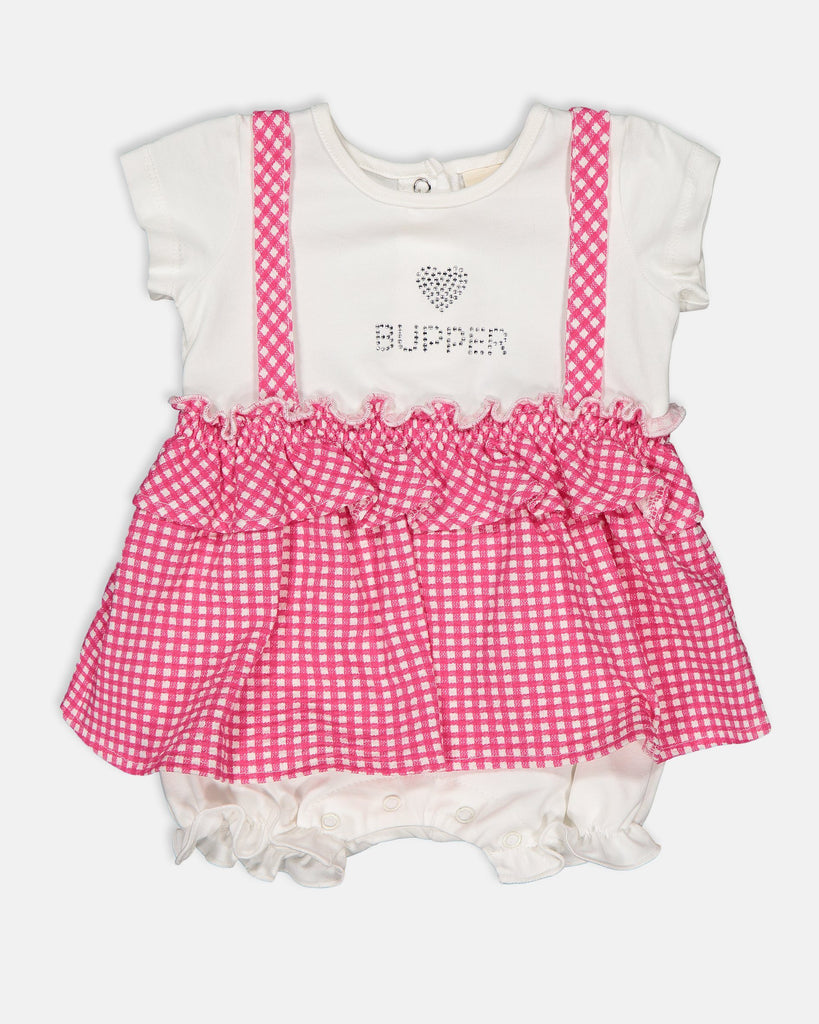 CHECKED PATTERN WHOSALE BABY GIRL ROMPER