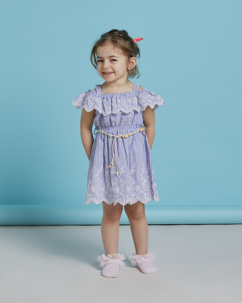 BRODE COLLAR WITH BELT WHOLESALE KID GIRL DRESS
