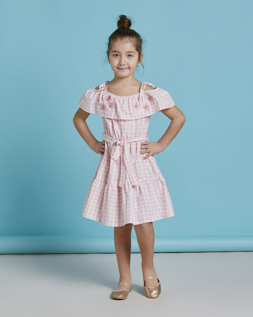 CHECKED PATTERN EMBROIDERED WHOLESALE KID GIRL DRESS