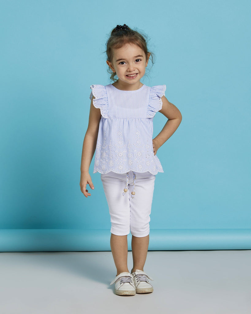 FRILL SLEEVE STRIPE BRODE 2 PIECES WHOLESALE KID GIRL OUTFIT SET