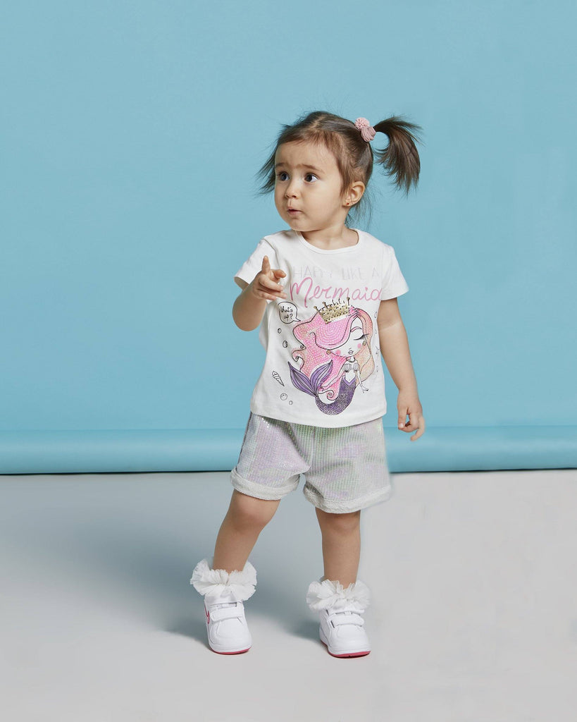 MERMAID SEQUIN SHORT 2 PIECES WHOLESALE KID GIRL OUTFIT SET