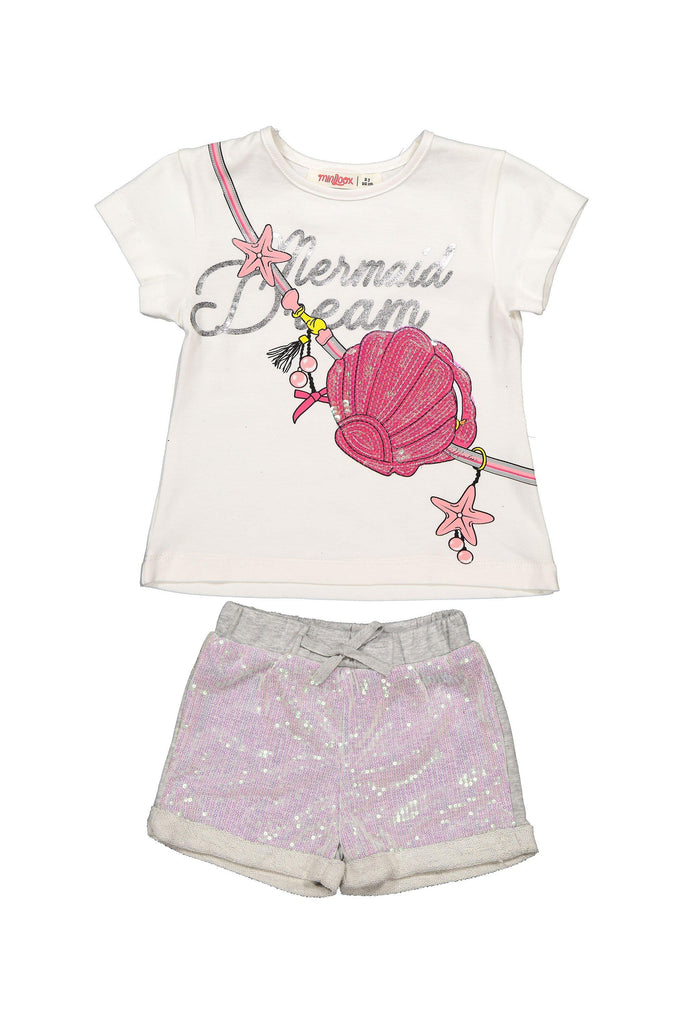 SEQUIN SHELL 2 PIECES WHOLESALE KID GIRL OUTFIT SET