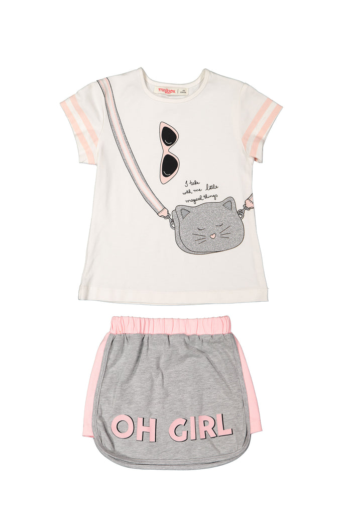 GLITTER CAT BAG 2 PIECES WHOLESALE KID GIRL OUTFIT SET