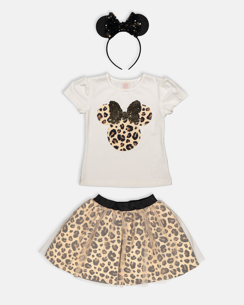LEOPAR MICKEY 3 PIECES WHOLESALE KID GIRL TUTU SKIRT SET