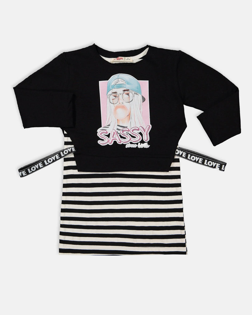 SASSY SWEAT 2 PIECES WHOLESALE KID GIRL STRIPE DRESS
