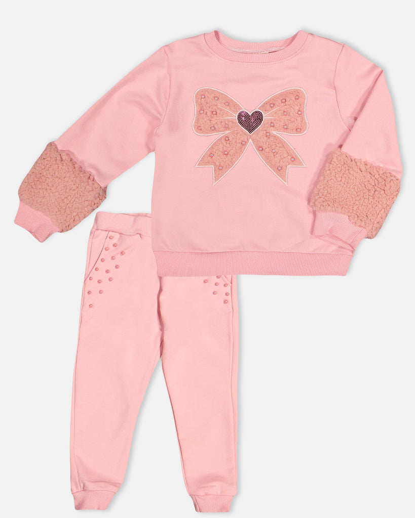 BOWTIE PLUSH WITH PEARL 2 PIECES WHOLESALE KID GIRL TRACKSUIT SET