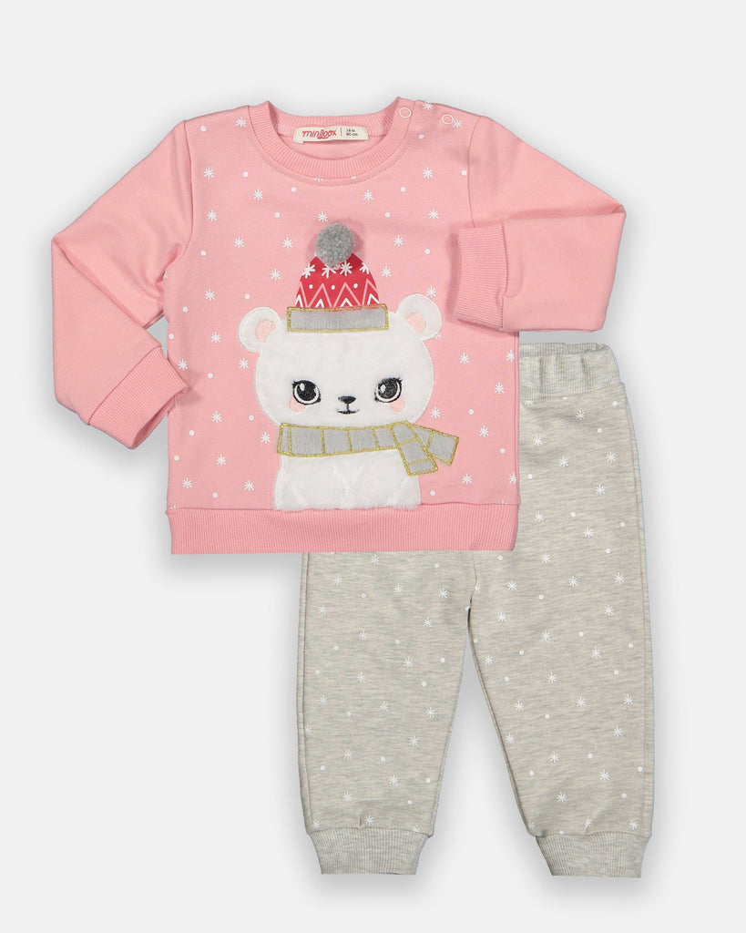 KID GIRL SNOWY BEAR 2 PIECE TRACKSUIT SET WHOLESALE