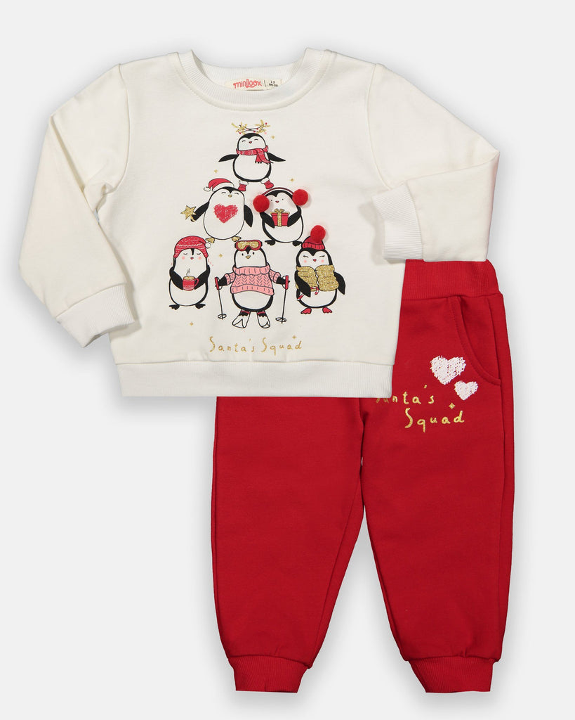 KID GIRL SANTA'S SQUAD 2 PIECE TRACKSUIT SET WHOLESALE