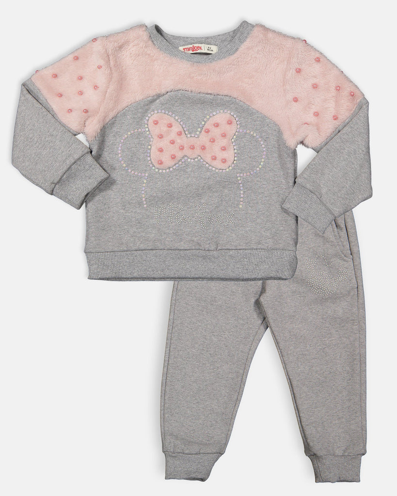 MINNIE PLUSH WITH PEARL 2 PIECES WHOLESALE KID GIRL TRACKSUIT SET