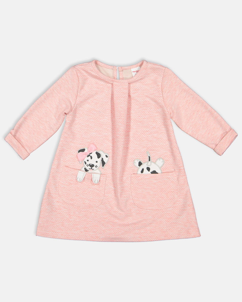 POCKET WITH DOG WHOLESALE BABY GIRL DRESS