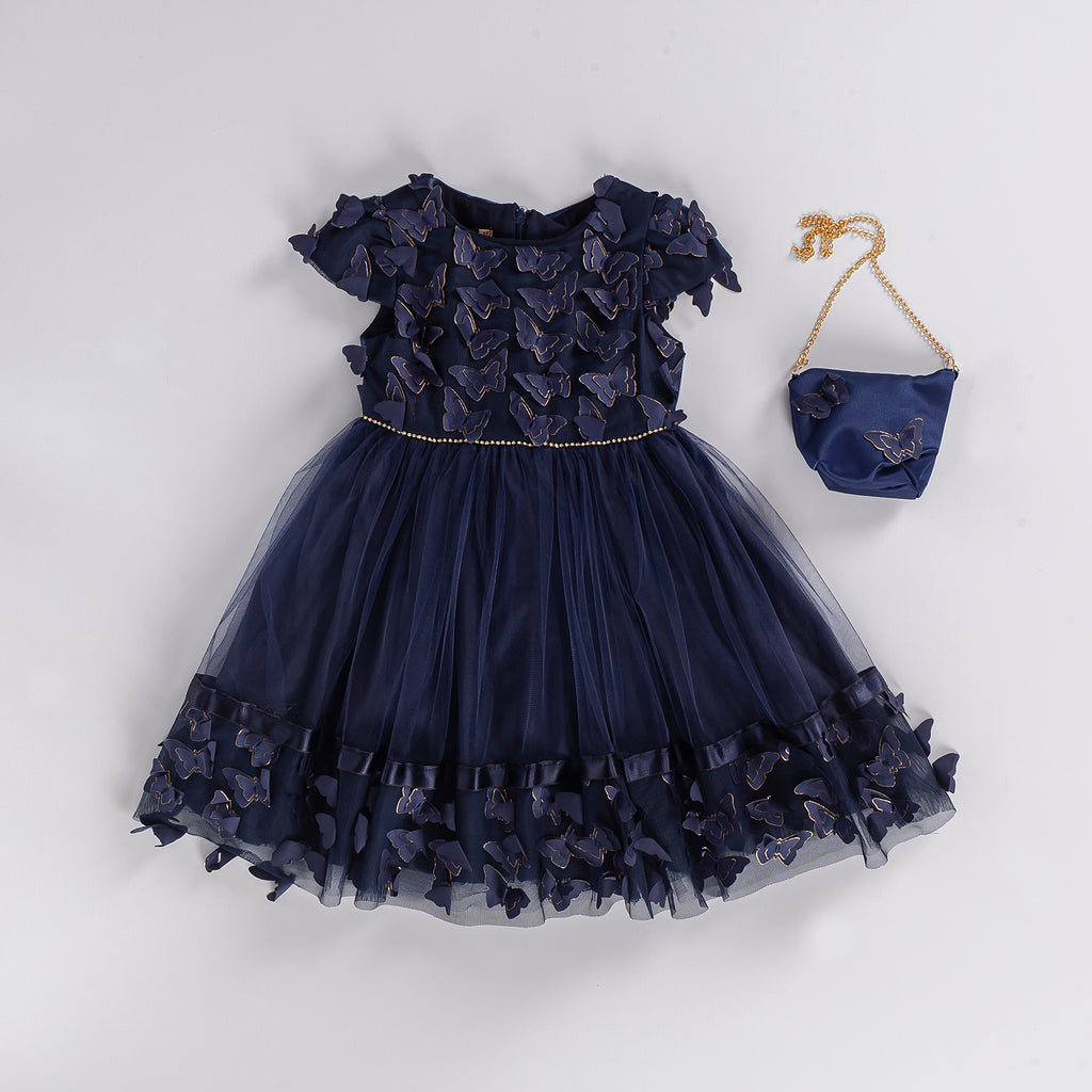 KID GIRL BUTTERFLY GOWN PARTY DRESS WITH BAG WHOLESALE
